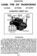 LARGE PRINT INSTRUCTIONS MANUAL FOR LIONEL ZW 275 WATT TRANSFORMER PEPRODUCED