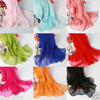 New Fashion Soft Long Solid Color Scarf Wraps Chiffon Neck Head Scarves Shawl