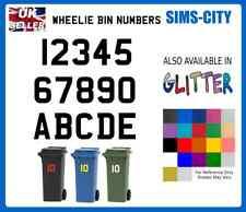 WHEELIE DUST BIN NUMBERS AND LETTERS STICKER VINYL & REFLECTIVE & GLITTER WHL001