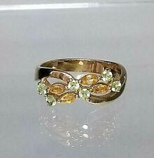 Vintage Genuine 9ct gold Citrine & Peridot Cluster ring (not filled or plated)