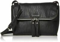 Calvin Klein Elaine Black Faux Leather Crossbody Medium Silver Fold Zip New