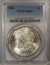 1886 Morgan Silver dollar PCGS MS-64 near gem uncirculated White coin