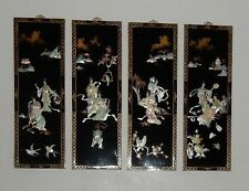 4 Vintage Japan Asian Mother of Pearl Pictures Black Lacquer Need Restoration