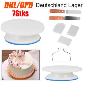 7tlg Tortenplatte Set Drehbar Streichpalette Kuchenretter Tortenheber Schaber