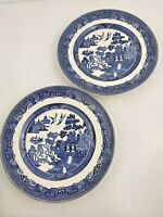 JOHNSON BROTHERS England WILLOW Blue 9 inch Dinner Plates Set of 2 Engraving