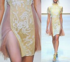 $4K Christopher Kane Pastel Yellow Dress Slit Floral Sequins NWT Runway SS2010