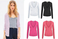 Women's Classic V-Neck Cardigan Sweater Long Sleeve Cotton Knit Button Down Top