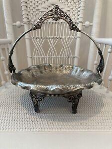 Vintage James W Tufts Boston Quadruple Silver Plate Brides Basket #2743 w Birds!