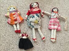 Japanese Dolls Vintage Cloth Made Lot of 4