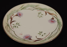A. Lanternier & Co. Limoges HP & signed dish pink & purple flws gold trim France