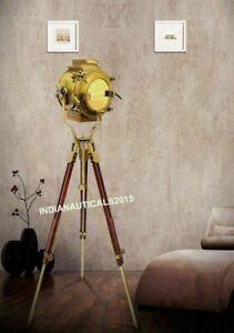 Vintage Brass Nautical Searchlight Floor Lamp Spotlight Wooden Tripod Light.
