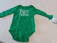baby green long sleeve bodysuit 9 month new kiss me I'm Irish saint patricks day