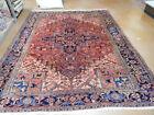 Old Heriz rug estate lovely carpet 8' x 9'10' Circa 1950s rare size