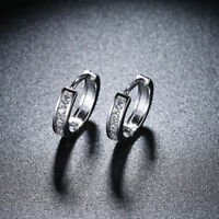White Gold Plated Very Small Stud Hoop Earrings