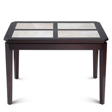 Sleeplace Dark Colored Pine Wood Dining Table With White Tone 4 Rectangle Marble