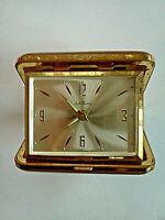 Vintage Seth Thomas Wind-Up Brown Clamshell Alarm Clock Germany *WORKS & GOOD