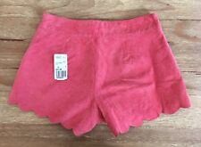 NEW  Forever 21 Suede Leather High Waist Shorts Size 24 Coral Pink Scalloped Hem