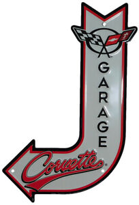 "Corvette Garage J Shaped 11.5""x17.5"" Aluminum Metal Sign DC85064 USA Made"