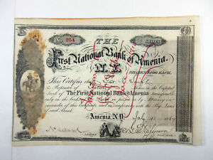 NY. First National Bank of Amenia, 1887 20 Shrs I/C Stock Certificate, Fine