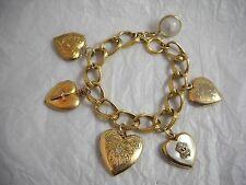 Vintage Antique Gold Filled & Sterling Locket Charm Bracelet Beautiful!