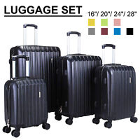 "3/4PCS Travel Set Bag ABS Trolley Spinner Suitcase Luggage w/Lock 16""- 28"" 4OPTS"