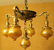 Arts and Crafts Era 5 Light-Solid Brass Fixture-with-Rare Quezal Globes-C.1900's