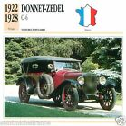 DONNET-ZEDEL CI-6 1922 1928 CAR VOITURE FRANCE CARTE CARD FICHE