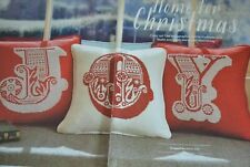WARM WELCOME TYPOGRAPHICAL CHRISTMAS CUSHIONS / SAMPLER 'JOY' CROSS STITCH CHART