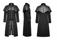 Punk Rave Mens Long Coat Black Gothic Highwayman Steampunk VTG Military Jacket