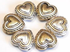 6 - 2 HOLE SLIDER BEADS RUSTIC SILVER BRASS HEART WAVY PATTERN & ROPE LOOK FRAME