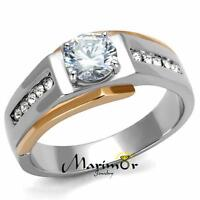 MEN'S 1.33 CT ROUND CUT SIMULATED DIAMOND TWO TONED STAINLESS STEEL RING SZ 8-13