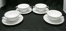 Bavaria WUNSIEDEL Classic White Double Handle Bullion Tea Cup & Saucer Set of 4