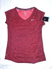 womens NIKE running printed miler short sleeve red shirt size M NEW nwt $38