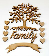 Family Tree Craft Kit Set with hearts Family Banner Craft wooden MDF Shapes