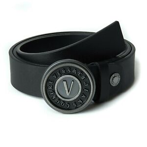 Versace Jeans Couture Belt Mens Black Leather Belt With Silver Buckle Brand New