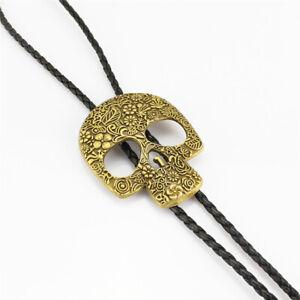 Flower Skull Head Mens Bolo Tie Wedding Necklace PU Leather Rope Western Cowboy