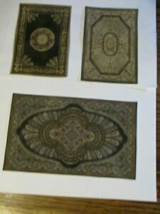 Going Out of Business Dollhouse Miniature area rugs for 1:12 scale gray black