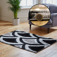 BLACK GREY LARGE SMALL TWO TONE SALE  DISCOUNT SPARKLE SHAG SOFT 3CM MODERN RUGS