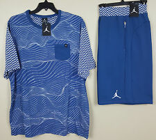 NIKE AIR JORDAN XII 12 OUTFIT SHIRT + SHORTS FRENCH BLUE SET RARE NEW (SIZE 3XL)