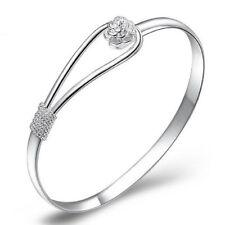 Ladies Women Girls Elegant 925 Sterling Silver Clip on Floral Hook Style Bangle