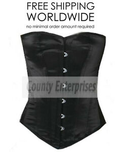 """Overbust Full Steel Boned Victorian Bustier Gothic Black Satin Corset Small/24"""""""