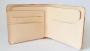 men women wallet purse cow Leather Card Case holder bifold bag beige white 354