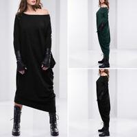 Mode Femme Casuel Épaules dénudées Manche Longue Bouffant Droit Jupe Robe Plus