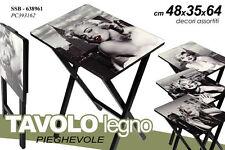 TAVOLO RETTANGOLARE PIEGHEVOLE IN LEGNO NERO DECORATO MARILYN MONROE SSB-638961