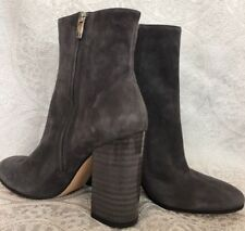 Gianvito Rossi Ankle Boot Gray Suede Lacquered  Heel New Size 40
