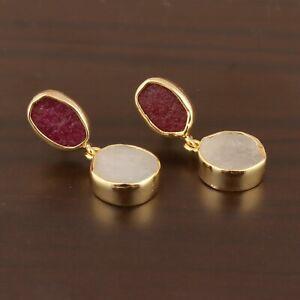 Double Stone Ruby Jade Quartz Raw Moonstone 24k Gold Plated Drop Dangle Earrings