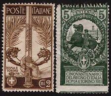 REGNO 1911 - n. 92 + 93 UNITA' D'ITALIA NUOVI € 140