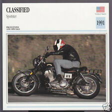 1991 Classified Sportster 883cc Harley Motor Motorcycle Photo Info Stat Card