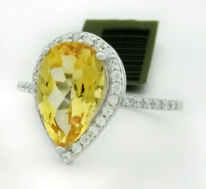 GENUINE 3.12 Cts YELLOW TOPAZ & WHITE SAPPHIRE RING .925 SILVER NWT size 7.5