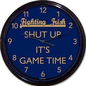"Notre Dame Fighting Irish Shut Up It's Game Time Clock NCAA Football New 10"""